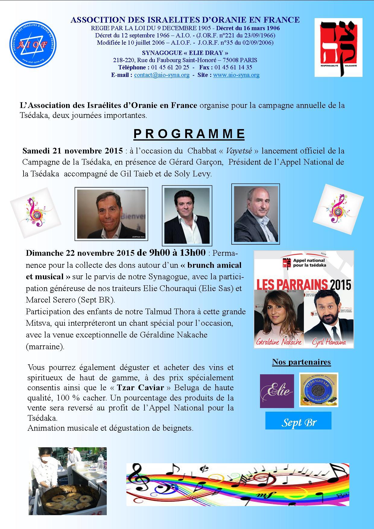 programme des journées de la Tsédaka 2015